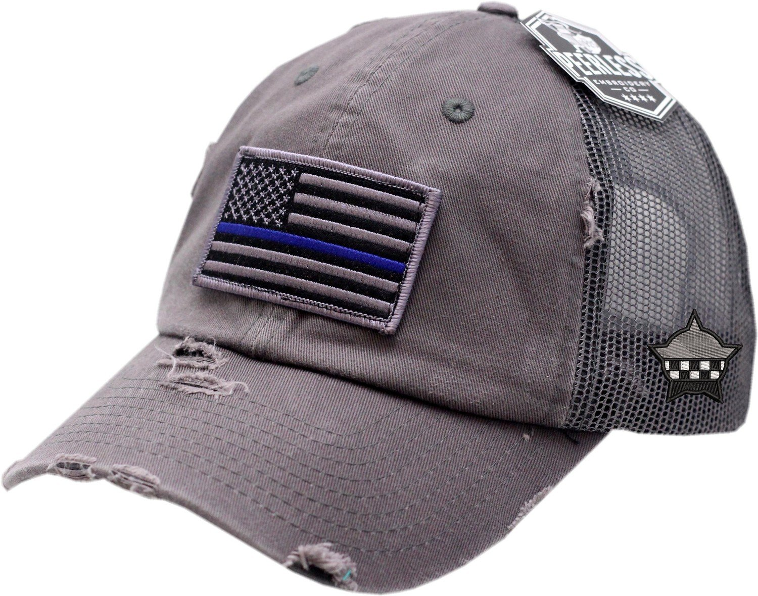 Blue Line American Flag Snapback Distressed Trucker Mesh Grey