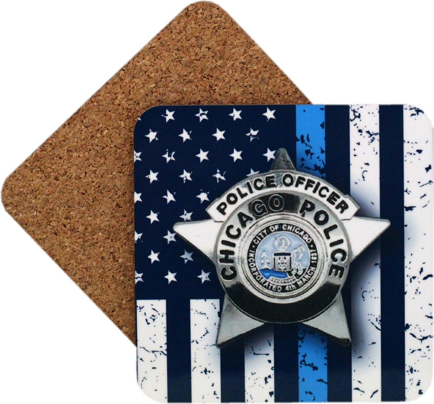 CPD Star Blue Line Flag Coaster Set Of 4