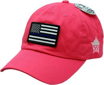 American Flag Blue Line Hat Pink Buckle Back Slouch
