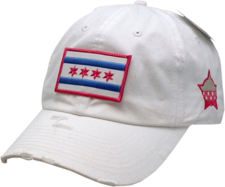 Chicago Flag Hat Vintage Buckle Back White