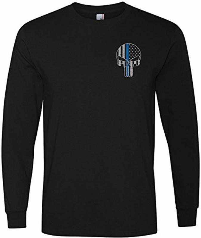 Punisher Blue Line T-Shirt Long Sleeve