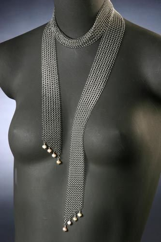 Narrow Scarf with Four Pearls on Each End