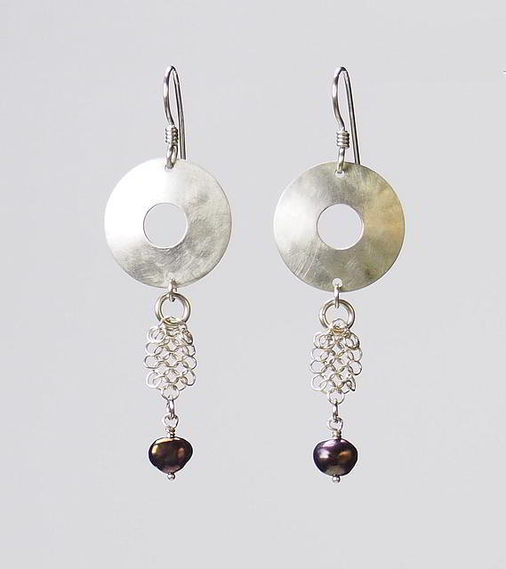 Sterling Silver Circle Earrings with Ruby Pearls