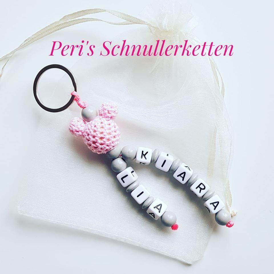 Schlüsselanhänger Maus rosa/hellgrau