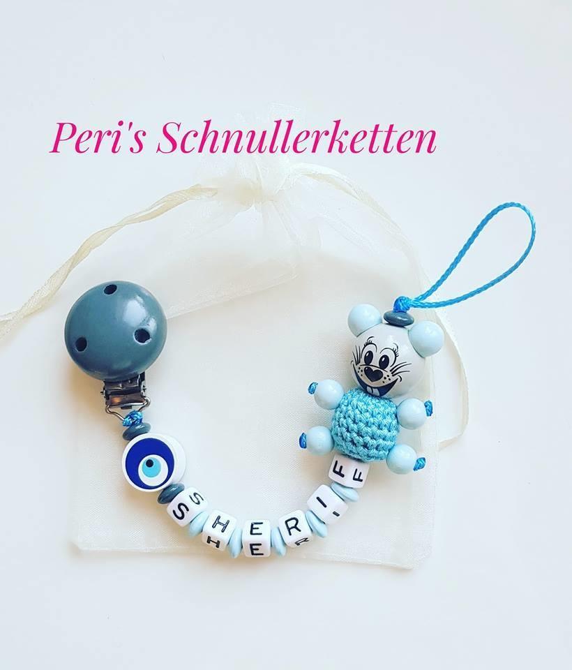 Schnullerkette Maus hellblau/ grau + Nazar