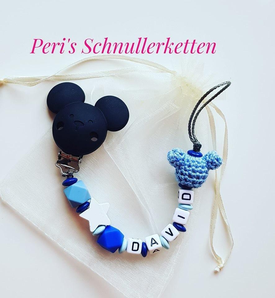 Schnullerkette Maus, schwarz/ weiß/ blau
