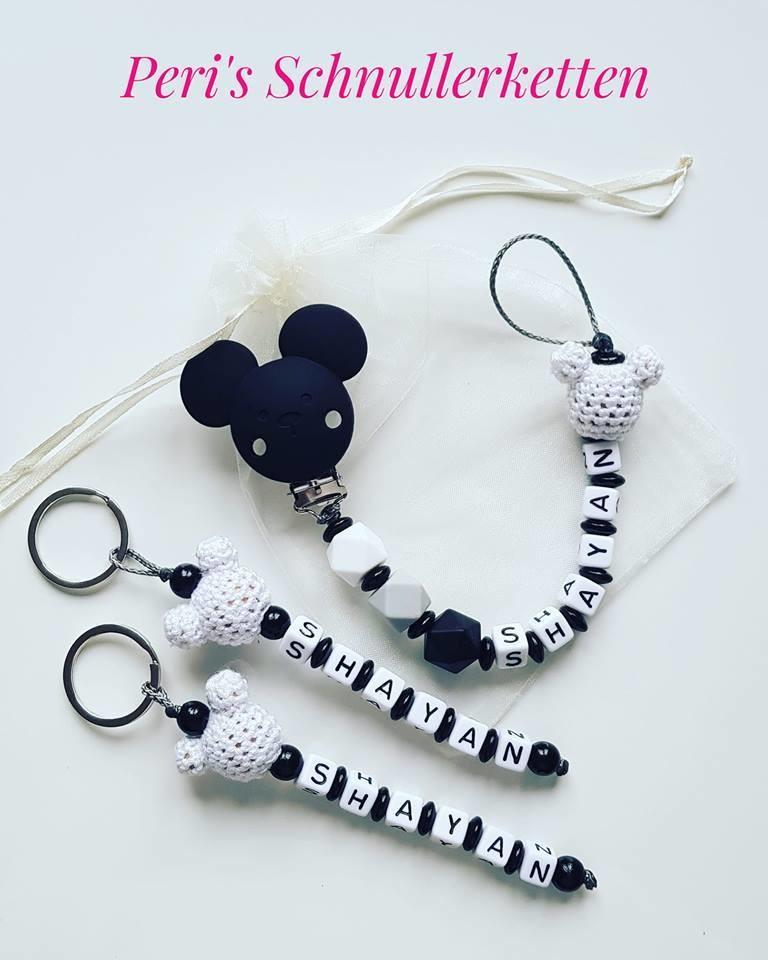 Schnullerkettenset Maus, schwarz/ weiß/ grau