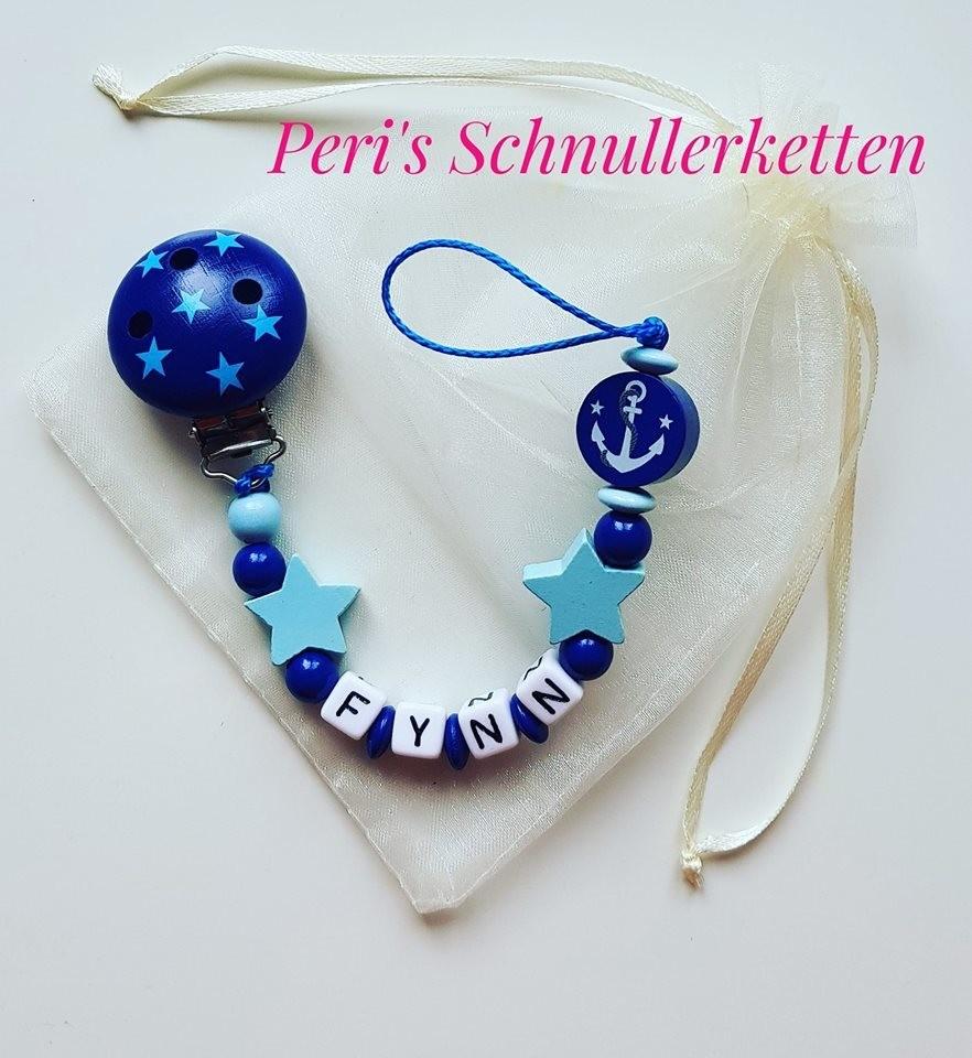 Schnullerkette blau Sterne/ Anker