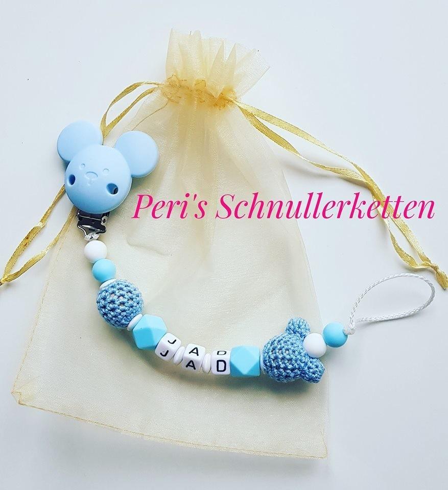 Schnullerkette Maus, weiß/ blau