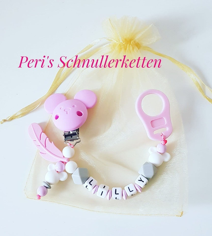 Schnullerkette Maus + Feder weiß/ rosa
