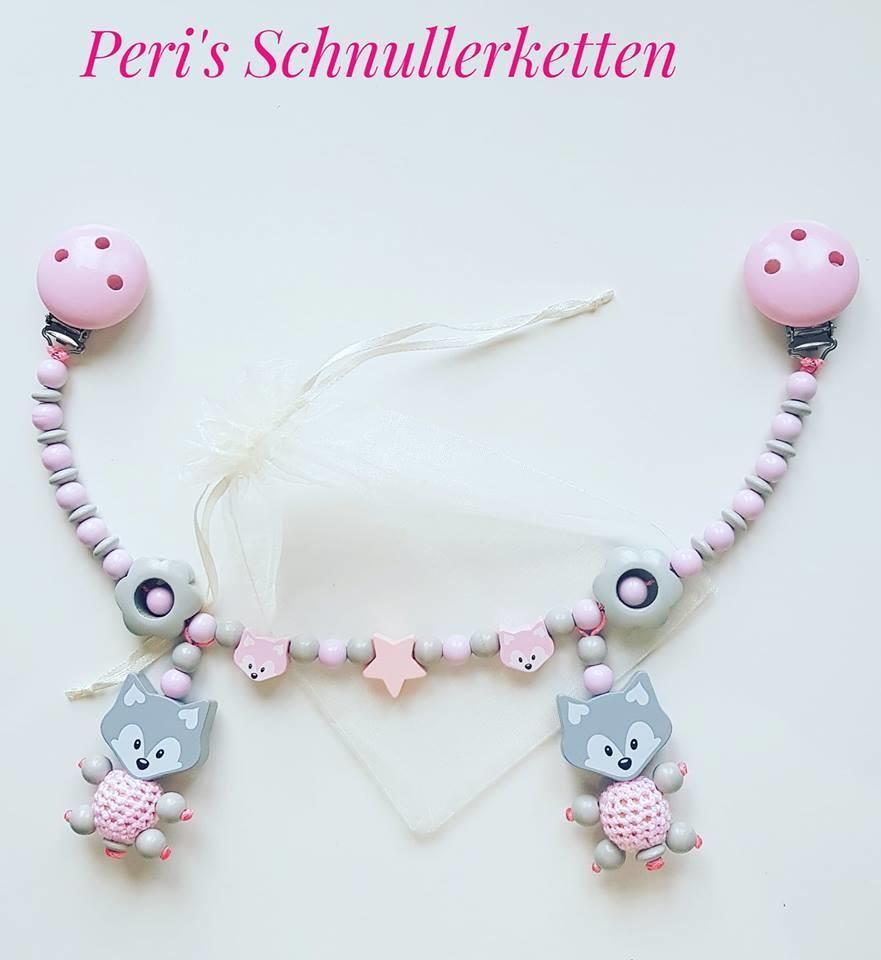 Kinderwagenkette Fuchs, grau/rosa