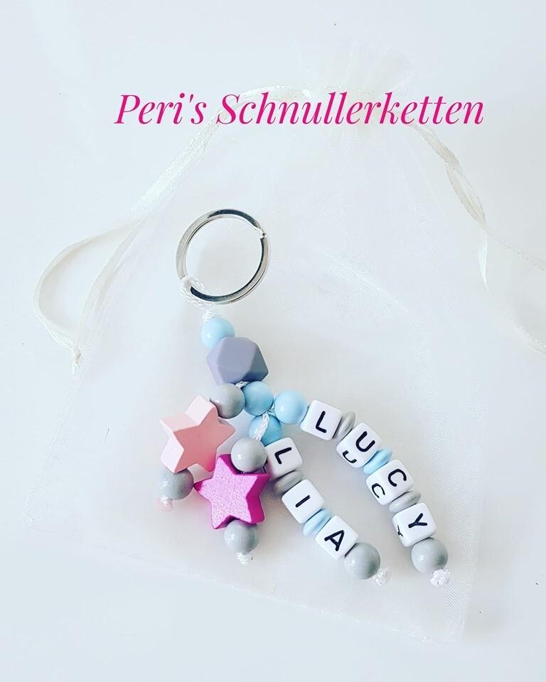 Schlüsselanhänger Sterne/ hellblau/hellgrau mit rosa+ pink Sterne