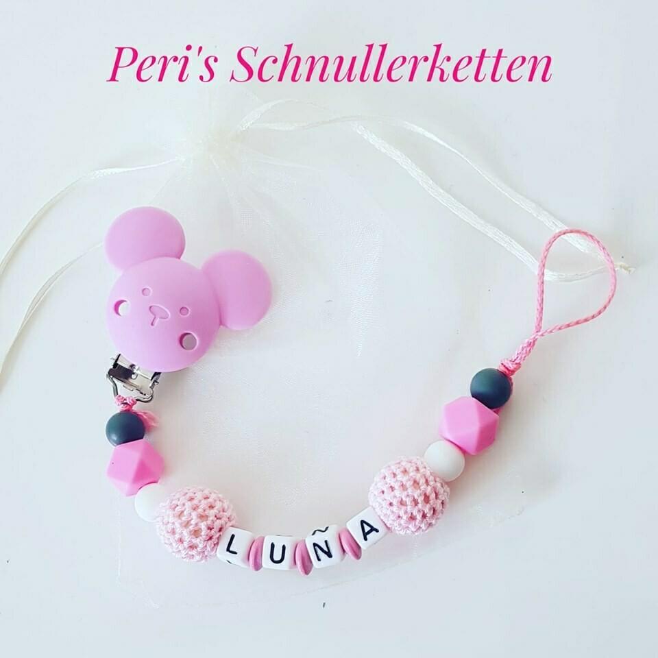 Schnullerkette Maus rosa/ grau/ weiß