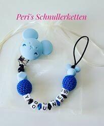 Schnullerkette Maus, blau/ dunkelblau