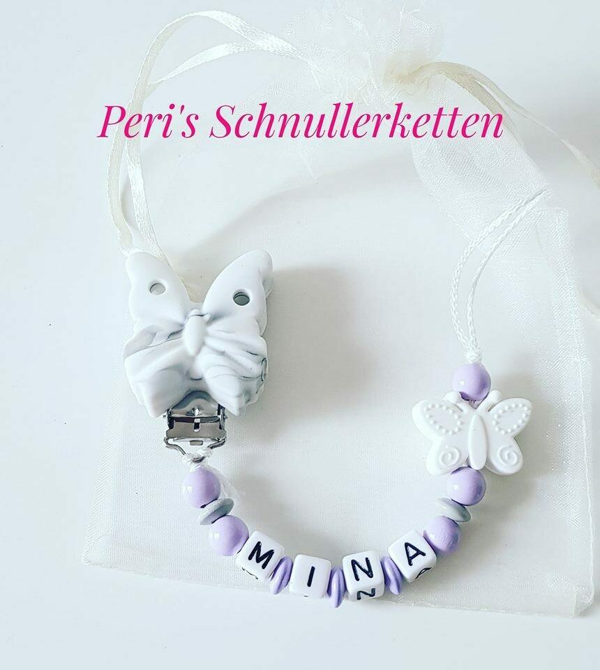 Schnullerkette Schmetterling weiß/ flieder