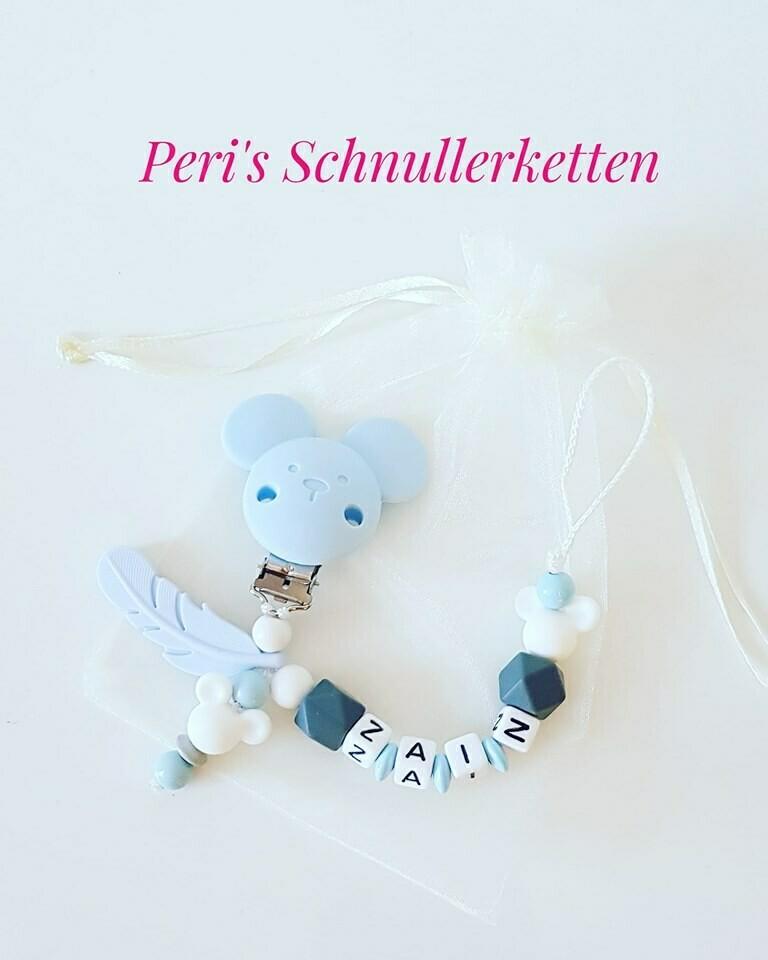 Schnullerkette Maus + Feder weiß/ blau