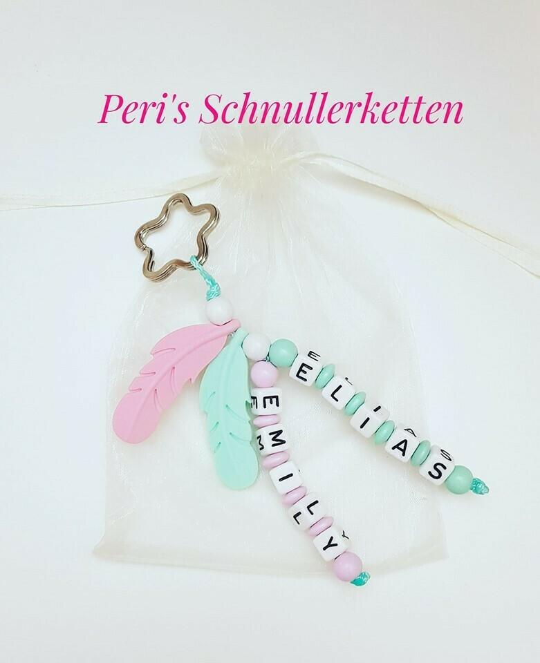 Schlüsselanhänger mint/ rosa Feder