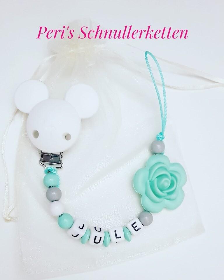 Schnullerkette weiß/ mint , Silikonblume + Silikonclip