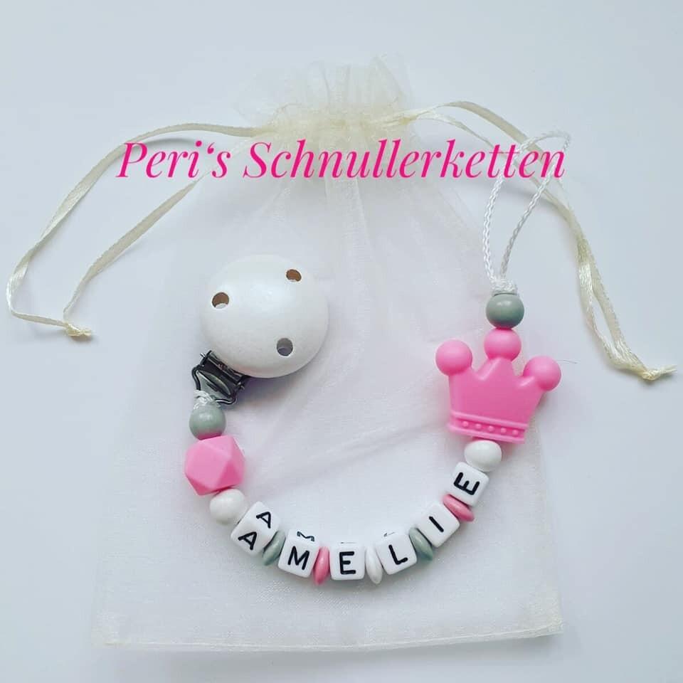 Schnullerkette Krone rosa/ weiß/ grau