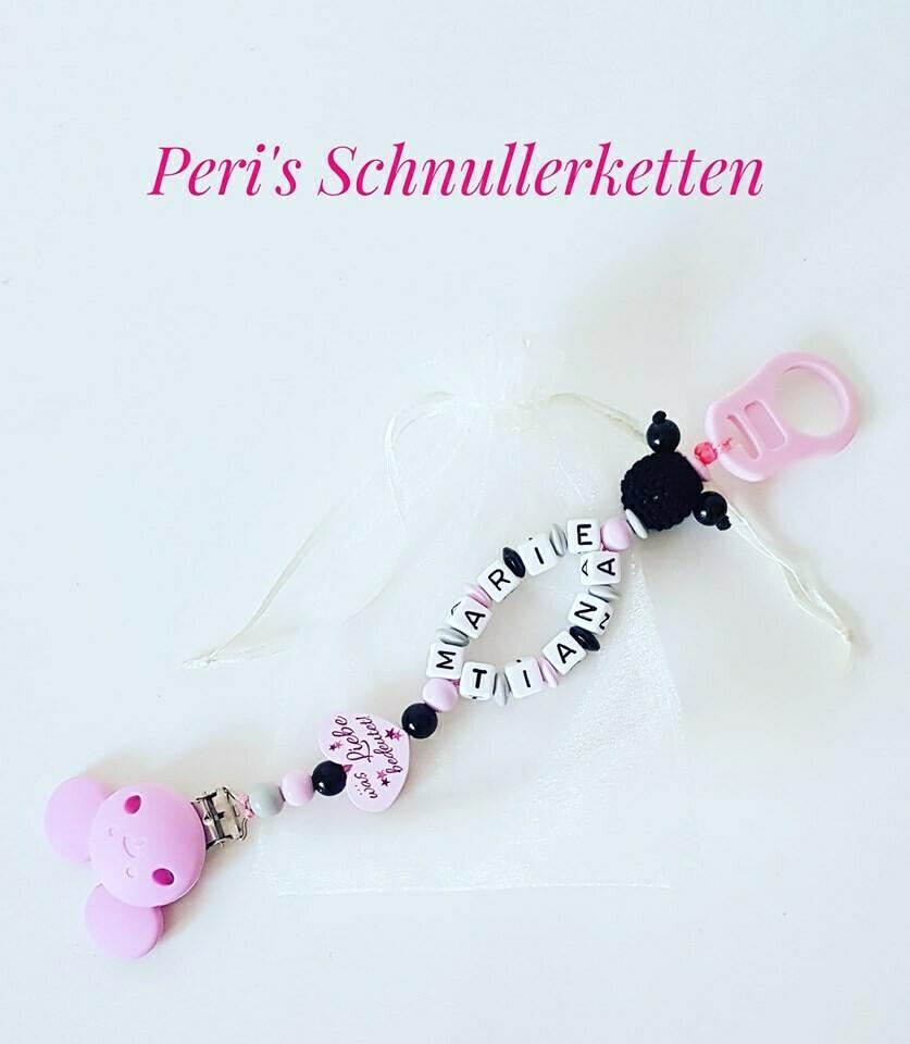 Schnullerkette Doppelname Maus, rosa/ schwarz