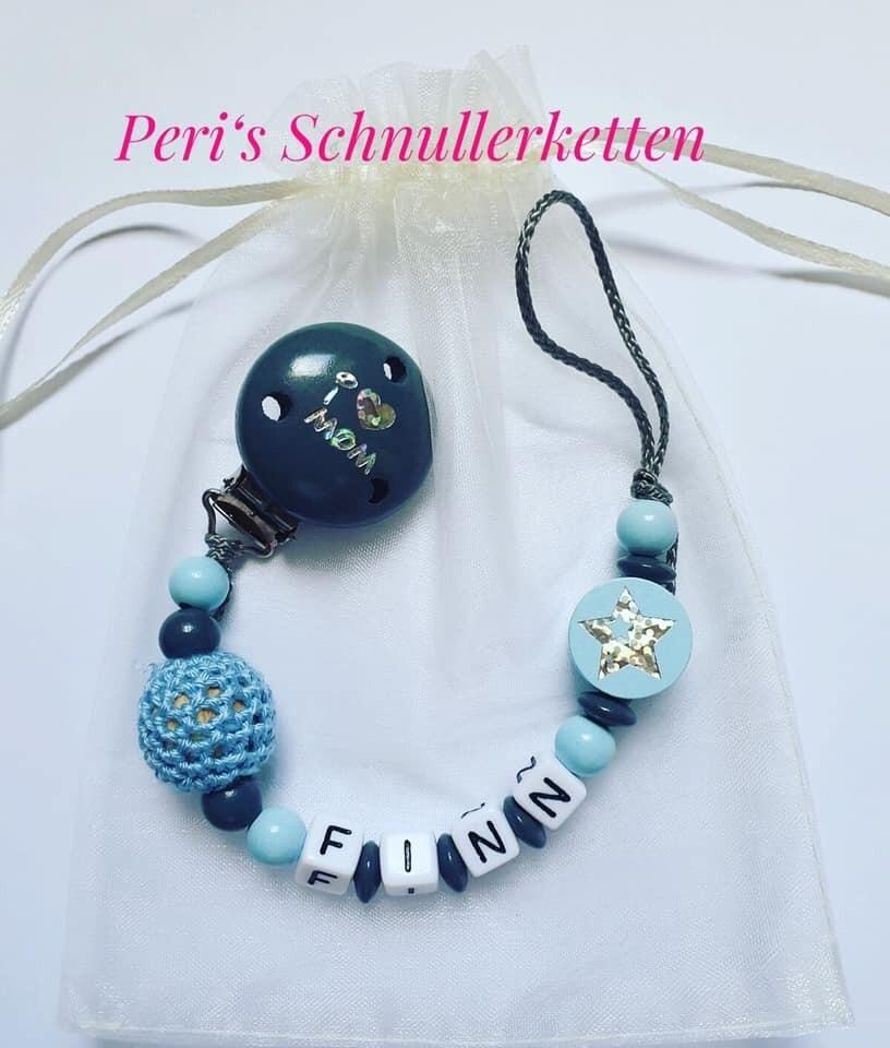 Schnullerkette Häkelperle/ Stern hellblau/dunkelgrau