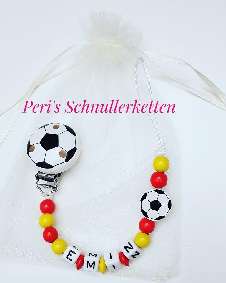 Schnullerkette  Fussball  rot/gelb