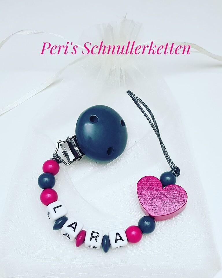 Schnullerkette Herz grau/pink