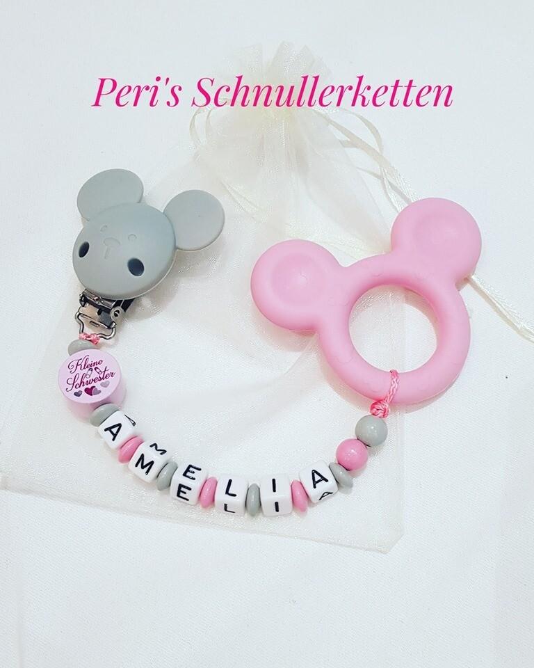 Beisskette Maus Silikon mit Holz Motivperle grau / rosa