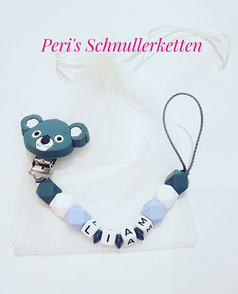 Schnullerkette Koala  blau/ weiß/grau