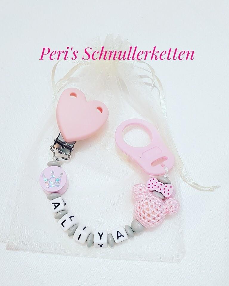 Schnullerkette Maus mit Schleife, grau/ rosa