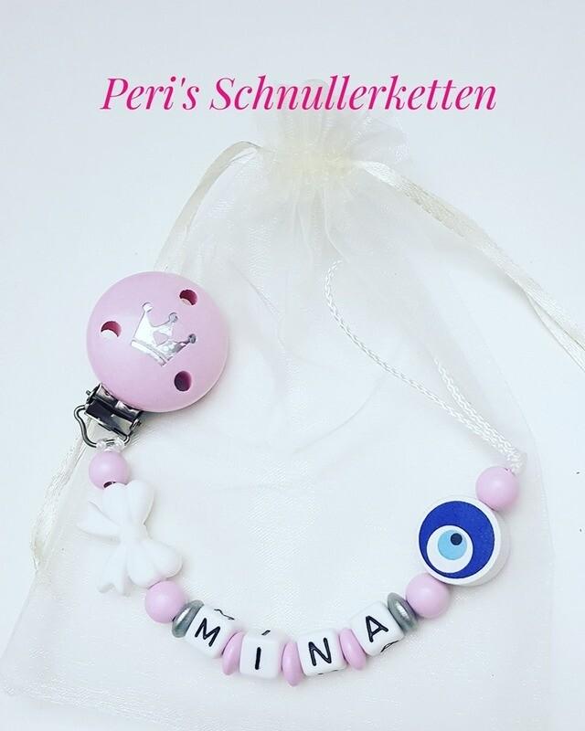 Schnullerkette Schleife / Nazar,  rosa