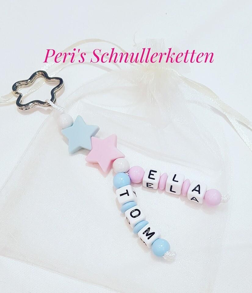 Schlüsselanhänger blau/ rosa Sterne Silikon