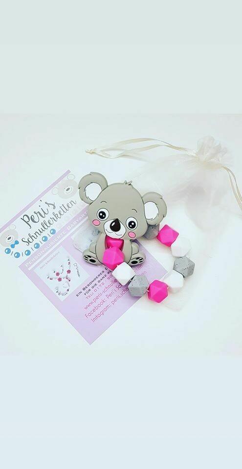 Greifling/ Greifring Koala  pink/ grau