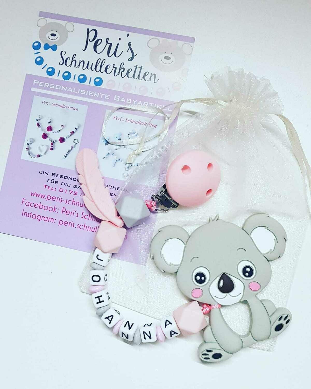 Beisskette Koala Silikon mit Feder grau / rosa
