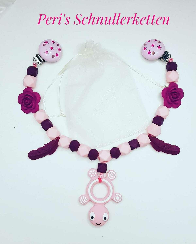 Kinderwagenkette Schildkröte, Bordeaux/  rosa mit Silikonprodukten