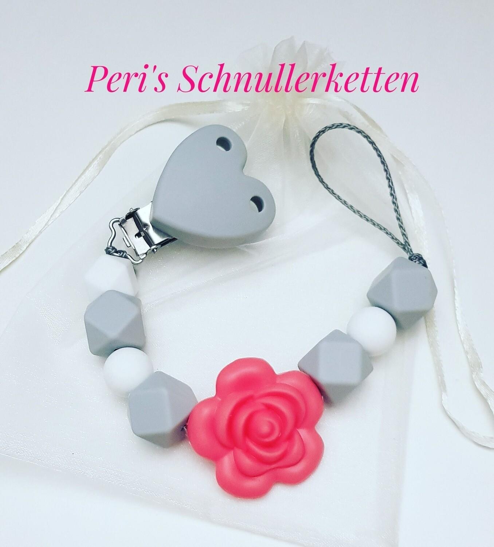 Schnullerkette grau /rosa, Silikonblume