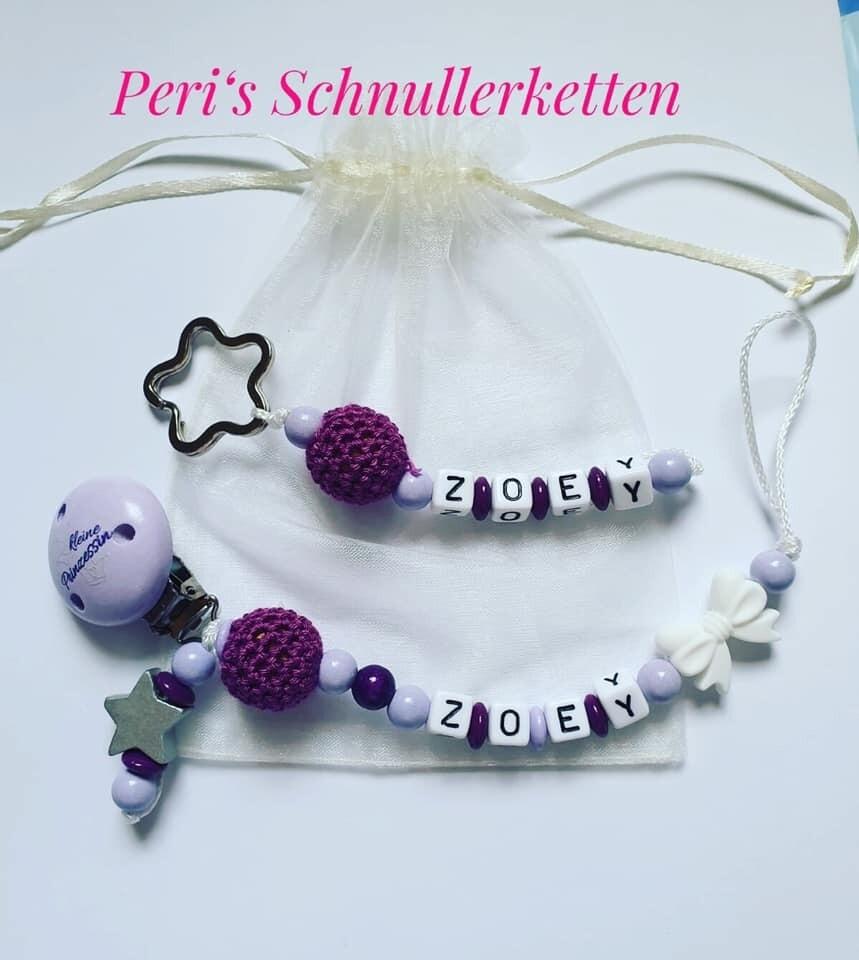 Schnullerkette kleine Prinzessin / Stern / Schleife lila + Schlüsselanhänger