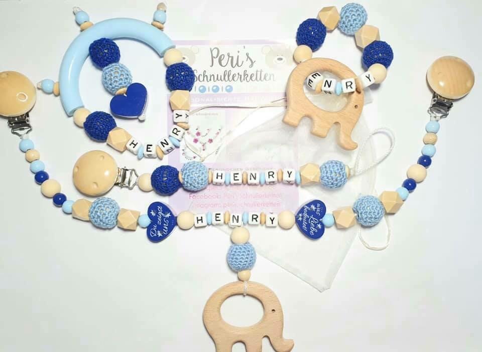 Set : Kinderwagenkette, Schnullerkette, Greifling, Beißring grau/ blau
