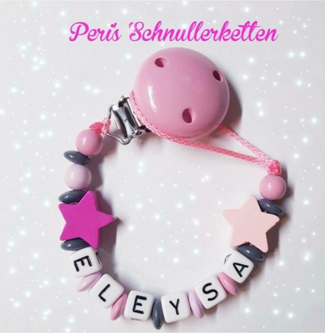 Schnullerkette grau/rosa mit Sterne