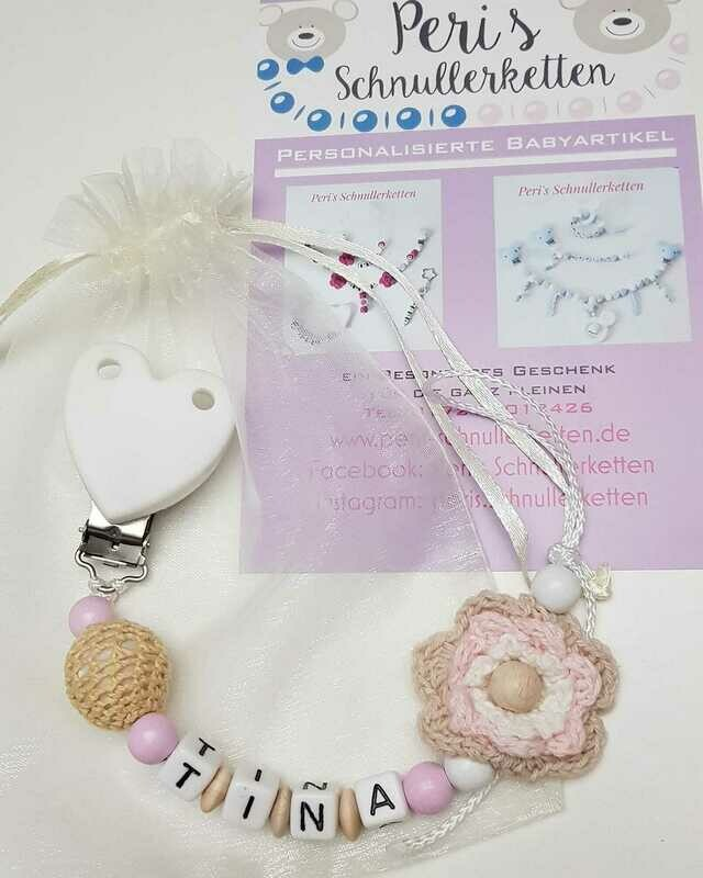 Schnullerkette weis /natur/ rosa, Häkelblume