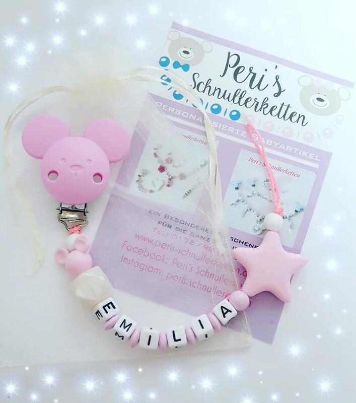Schnullerkette Maus, rosa / weis