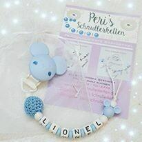 Schnullerkette Maus, blau / weiß