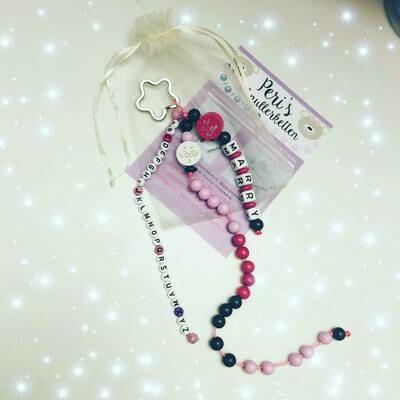Rechenkette / ABC Kette grau/ pink
