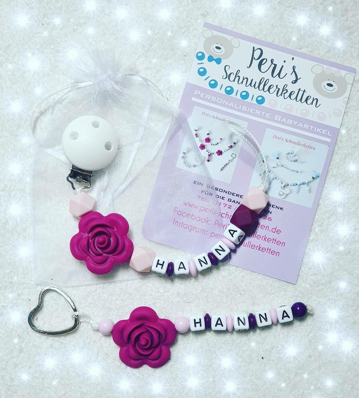 Schnullerkette + Schlüsselanhänger >Blume, bordeaux/ rosa