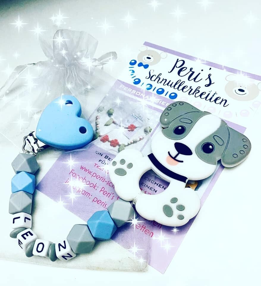 Beisskette Hund Silikon,  grau / blau