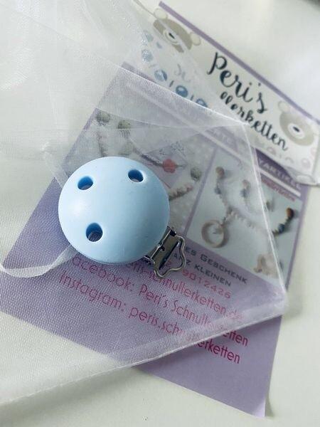 Silikon Clip Rund, pastell blau
