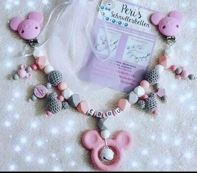 Kinderwagenkette Maus, rosa mit Silikon und Holzprodukten