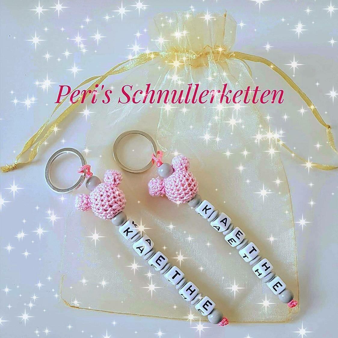 Schlüsselanhänger Maus rosa/grau