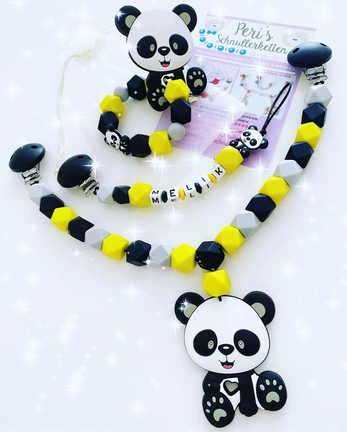 Set Panda bestehend aus Wagenkette + Schnullerkette + Greifling/Beißring