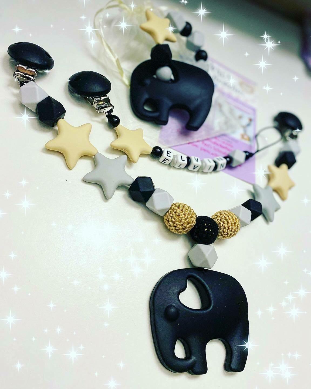 Set Elefant und Sterne, schwarz